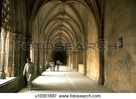 Picture of lisbon, arched, monastery, bathala, hallway, gothic.