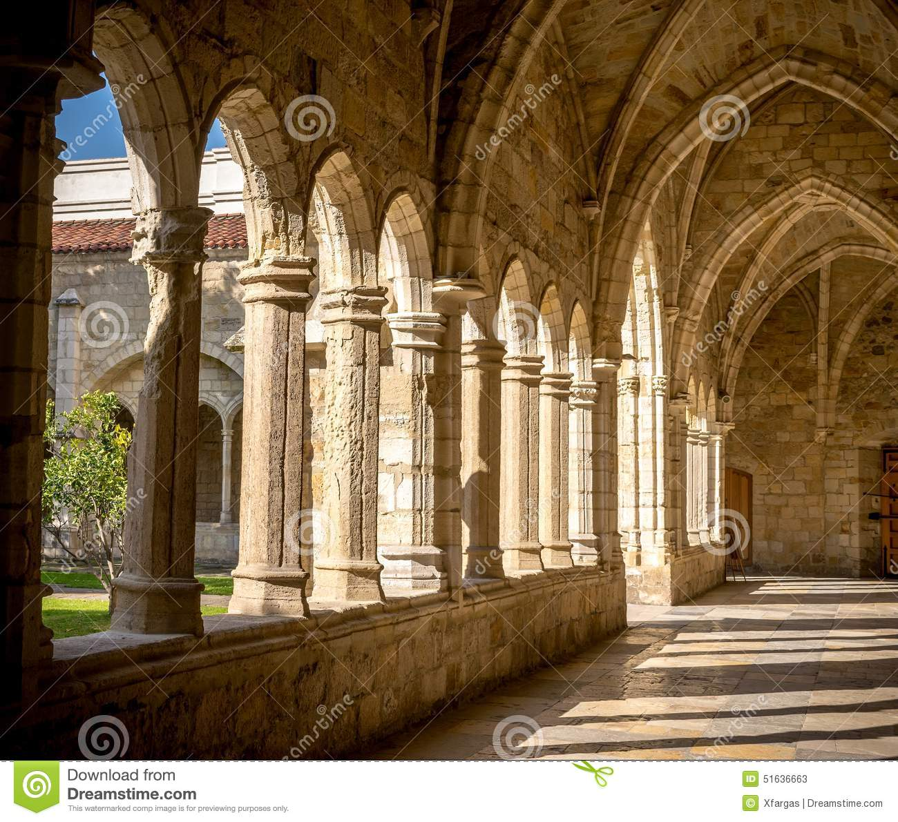 Santander Cathedral, Hallway, Columns And Arches Of The Cloister.