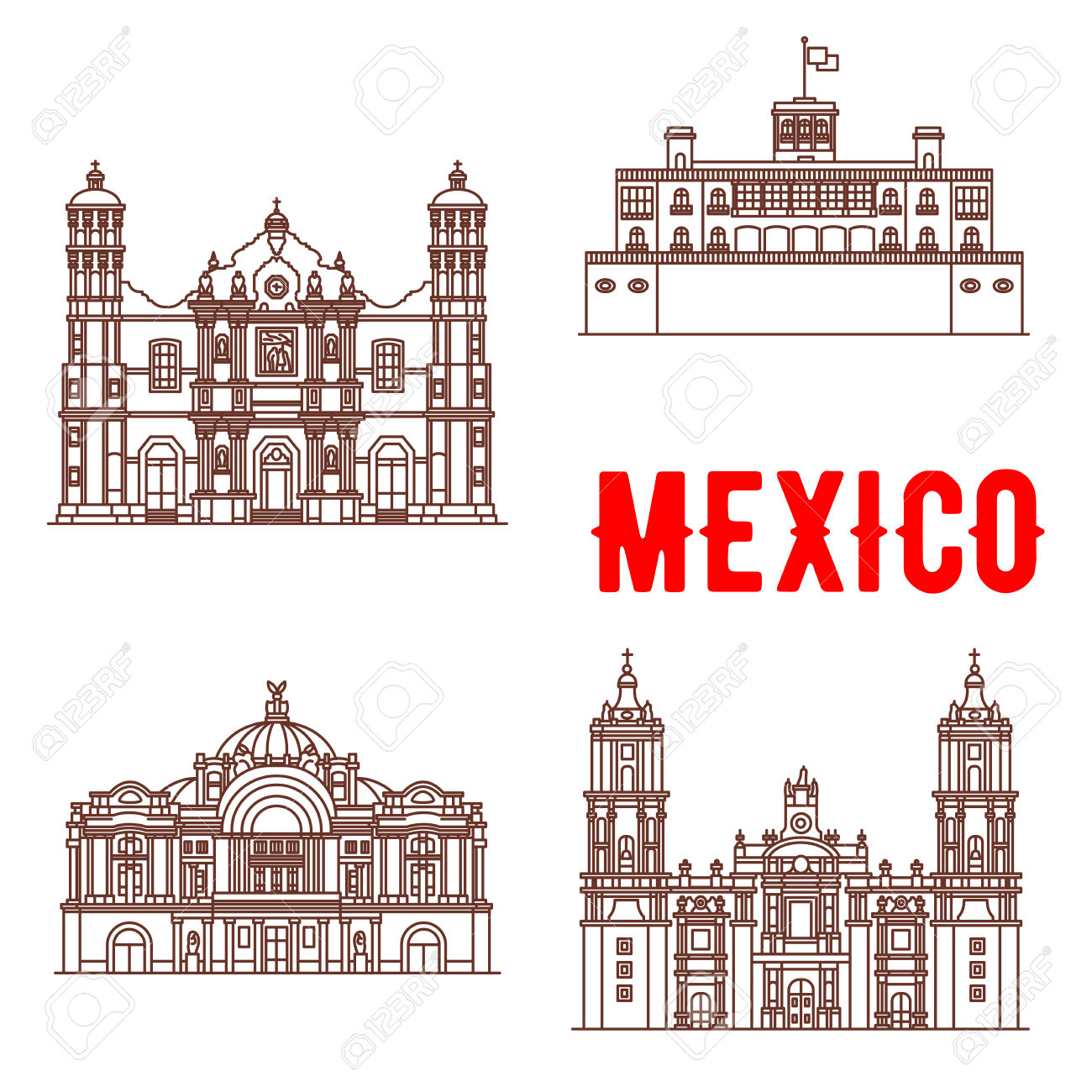 Mexican Architecture Vector Icons. Our Lady Of Guadalupe Basilica.