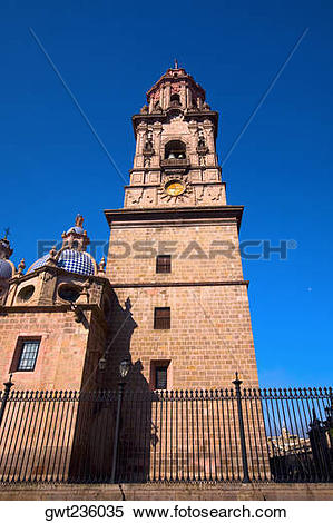 Stock Image of Low angle view of a cathedral, Morelia Cathedral.