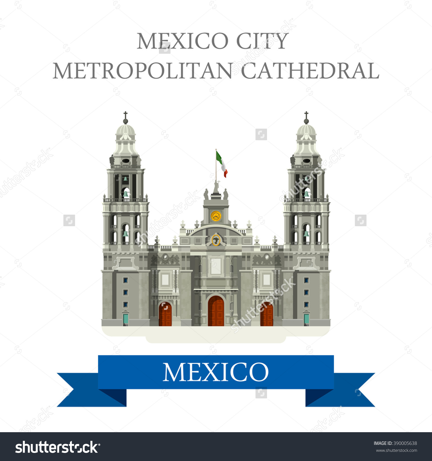 Mexico City Metropolitan Cathedral Flat Cartoon Stock Vector.