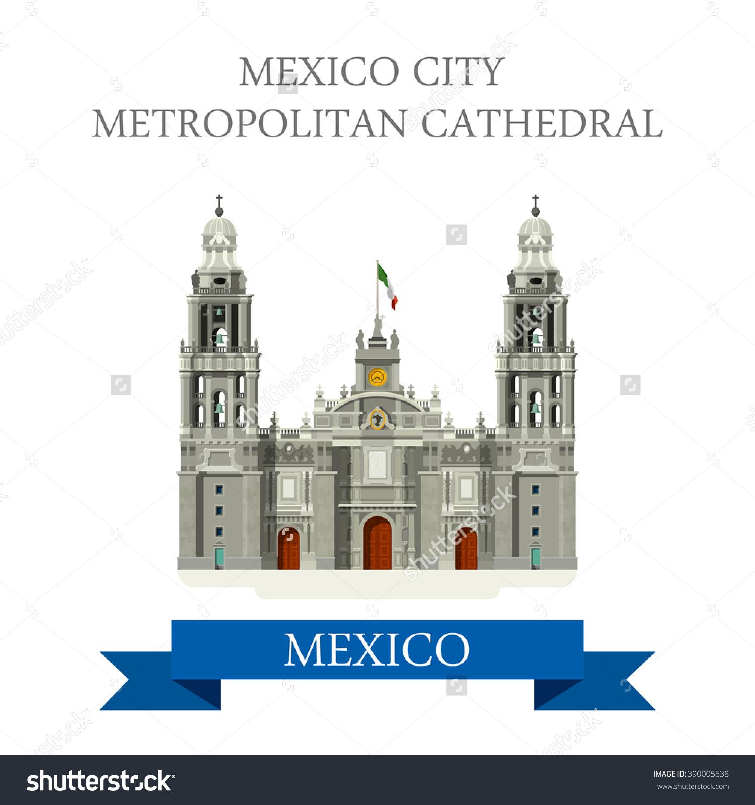 Mexico City Metropolitan Cathedral Flat Cartoon Stock Vector.