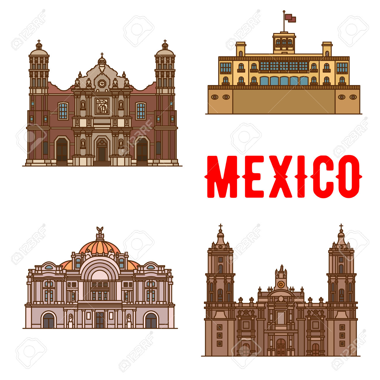 Tourist Landmarks And Sightseeings Of Mexico. Our Lady Of.
