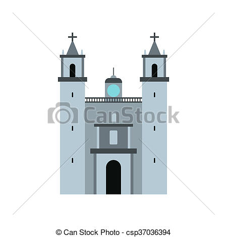 Stock Illustration of Cathedral in Valladolid, Mexico icon, flat.