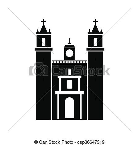 Clipart of Cathedral in Valladolid, Mexico icon, simple style.