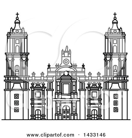 Clipart of a Black and White Line Drawing Styled Mexican Landmark.