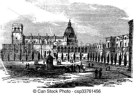 Vector Clip Art of Historic cathedral building at Guadalajara.