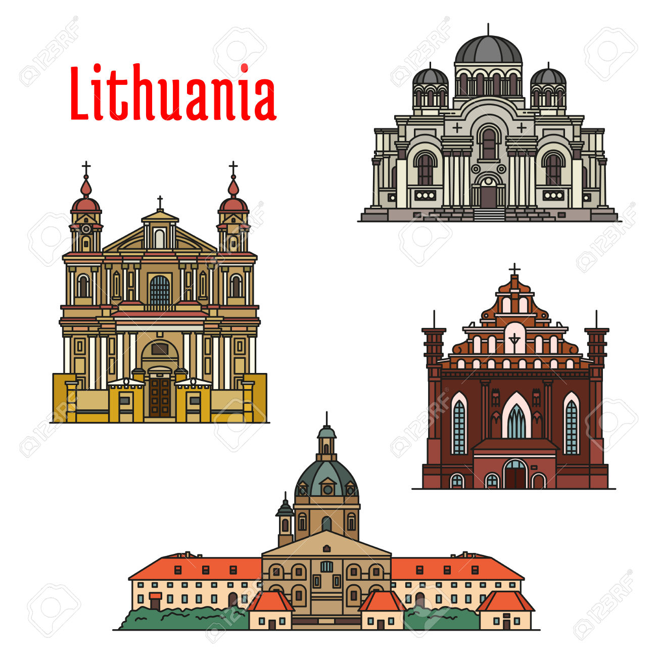 Lithuania Famous Architecture. Vector Detailed Icons Of Kaunas.