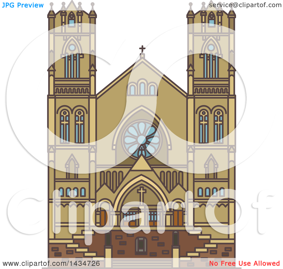 Clipart of a Line Drawing Styled American Landmark, Cathedral of.