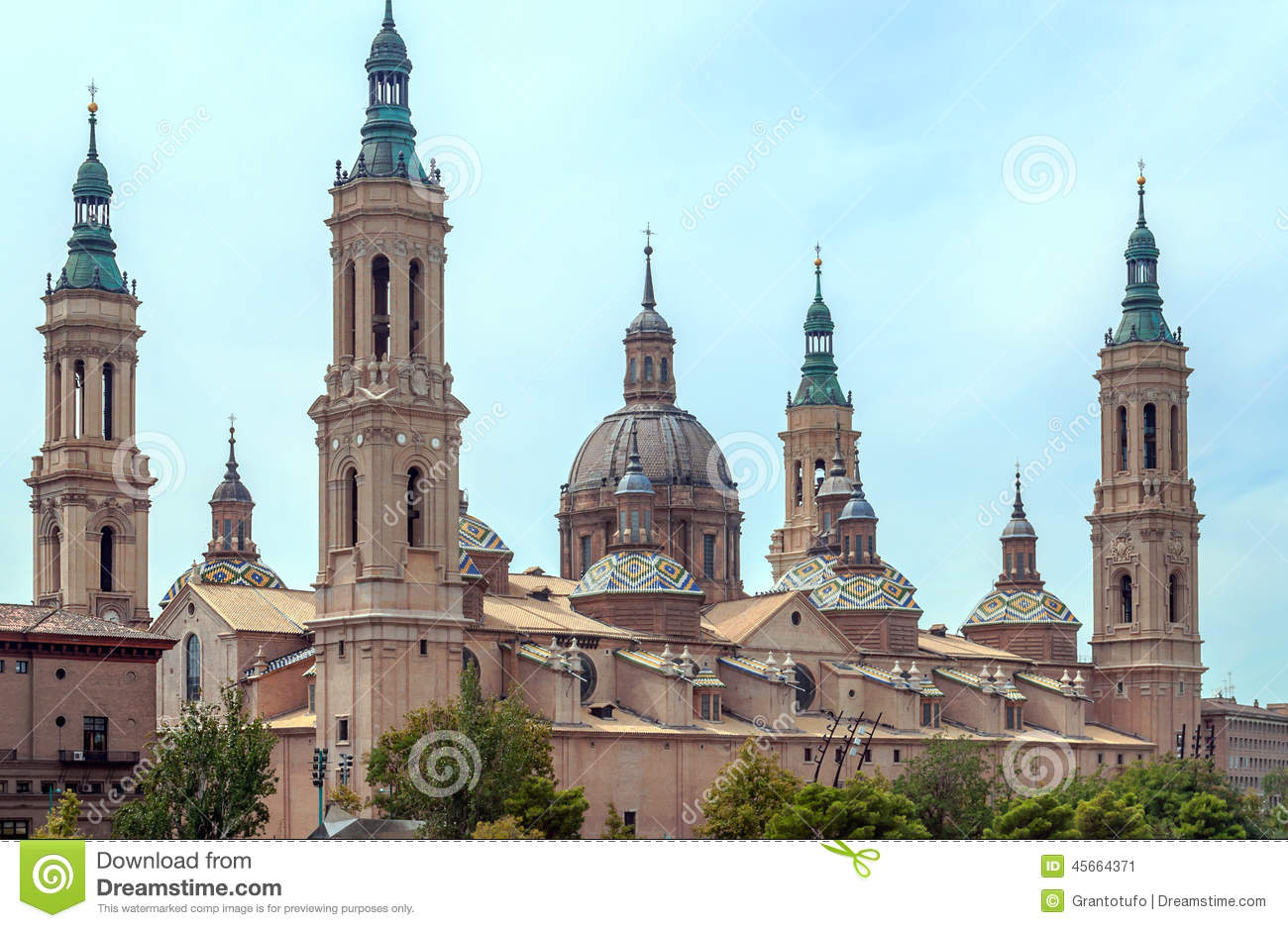The Basilica Cathedral Of Our Lady Of The Pillar Stock Photo.