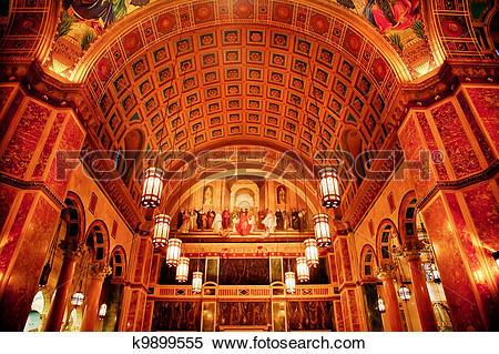 Stock Image of Saint Matthew Cathedral Back Basilica Washington DC.