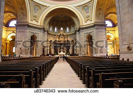 Stock Photo of basilica cathedral saint st. st paul minnesota.