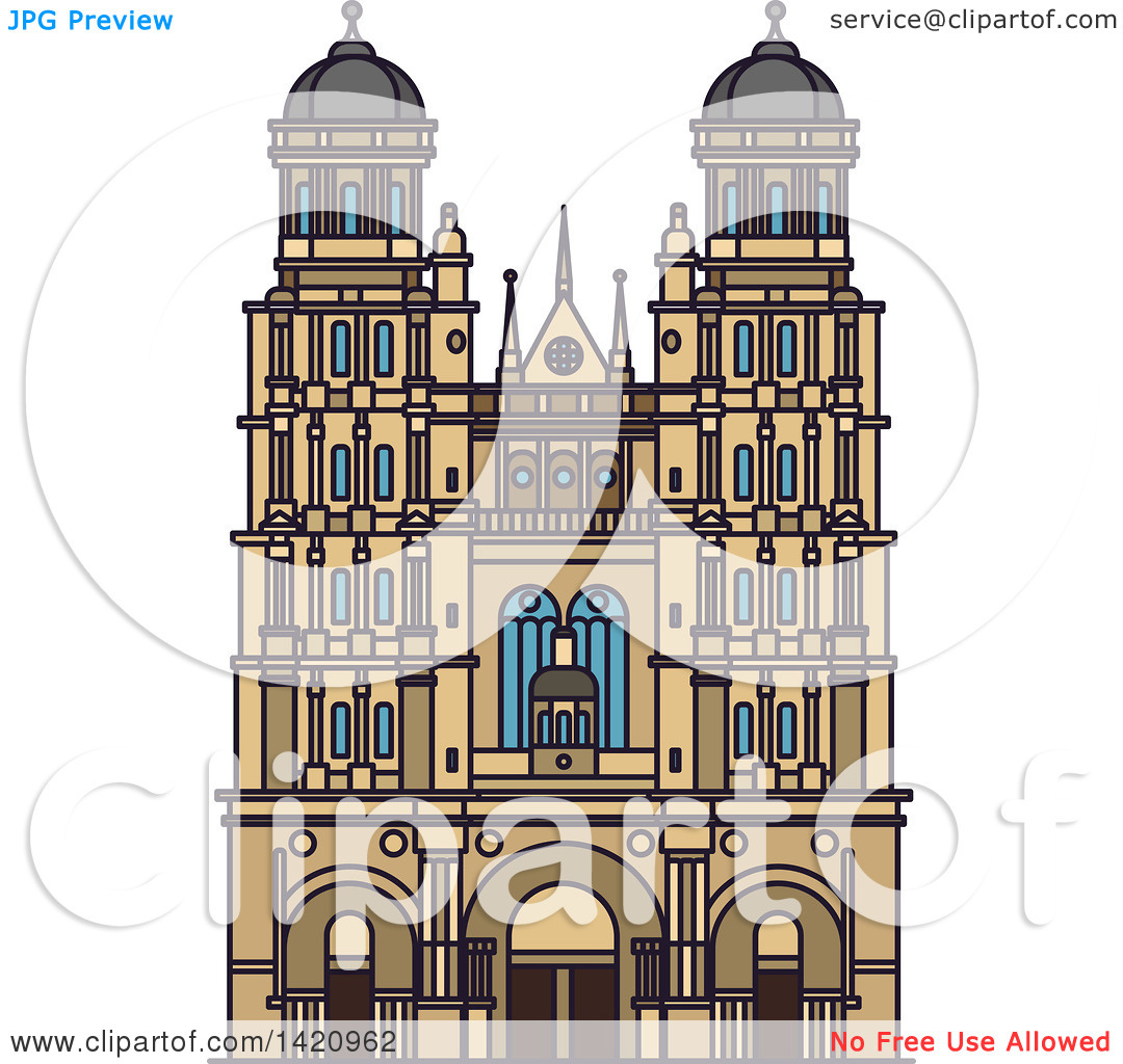 Clipart of a French Landmark, Cathedral of Saint Andrew.