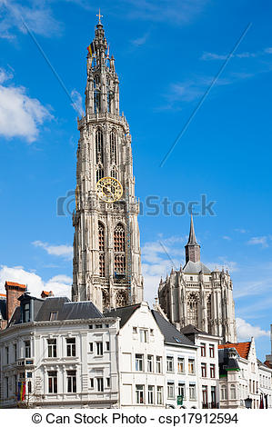 Stock Photographs of Antwerp Cathedral.