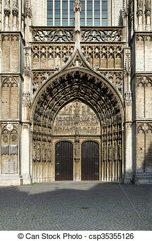 Stock Photo of Main portal at the cathedral of Our Lady in Antwerp.