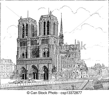 Clip Art Vector of Strasbourg Cathedral or Cathedral of Our Lady.