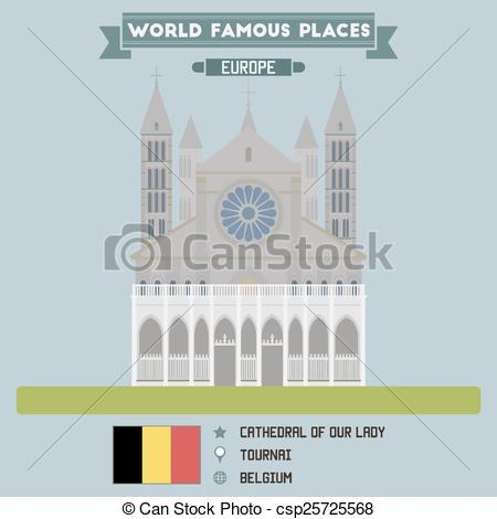 Clip Art Vector of Cathedral of Our Lady. Tournai, Belgium.