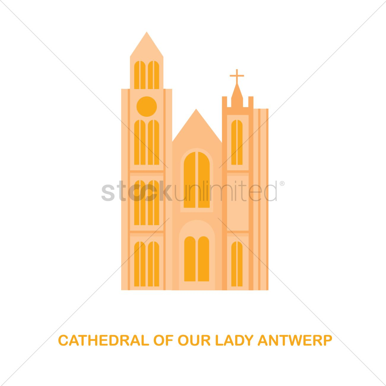 Cathedral of our lady antwerp Vector Image.