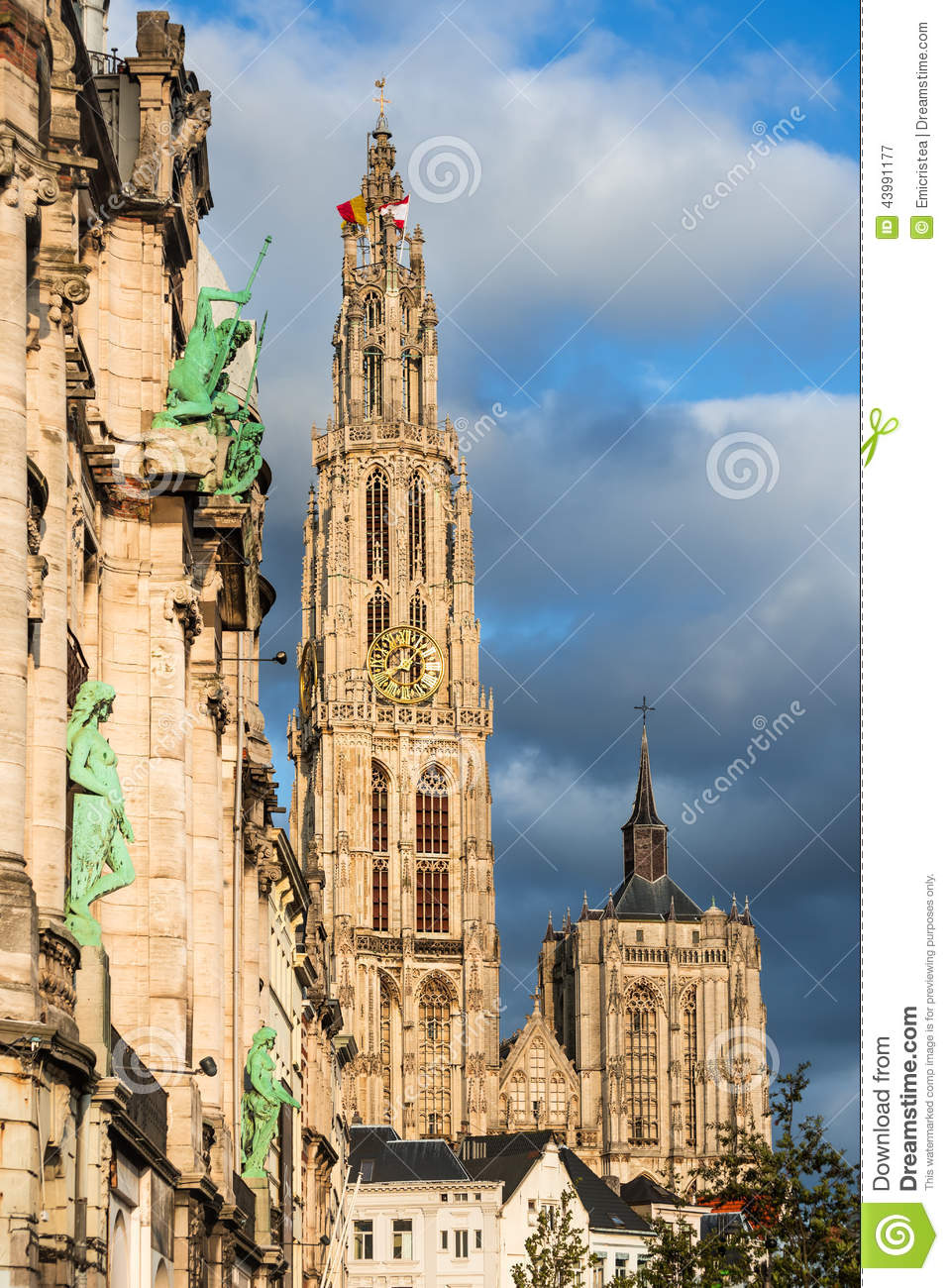 Spire Of Cathedral Of Our Lady, Antwerp, Belgium Stock Photo.