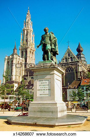 Picture of Low angle view of Peter Paul Rubens statue in front of.