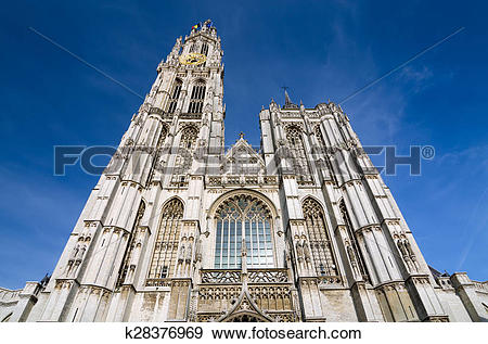 Stock Photograph of Cathedral of Our Lady in Antwerp, Belgium.