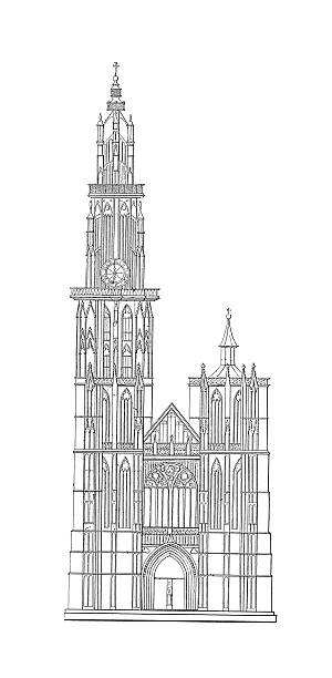 Cathedral Of Our Lady Antwerp Clip Art, Vector Images.