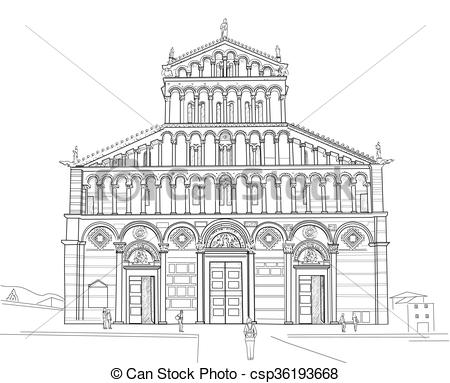 Clip Art Vector of Sketch of Pisa Cathedral.