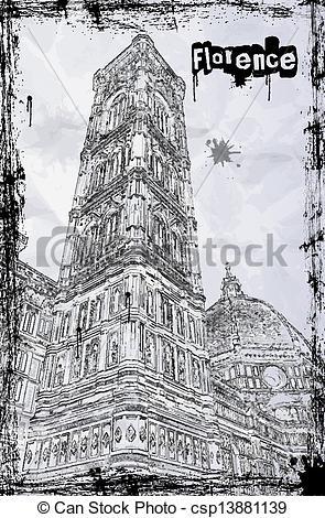 Vectors of Cathedral Santa Maria del Fiore in Florence, Italy.