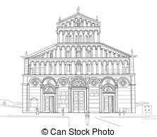 Vector of Sketch of Pisa Cathedral.