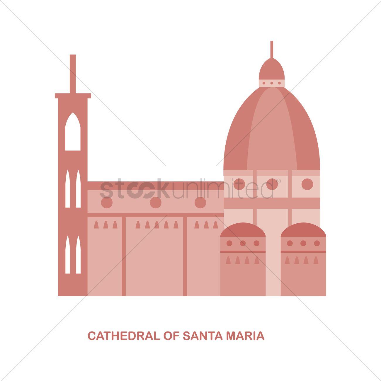 Cathedral of santa maria Vector Image.