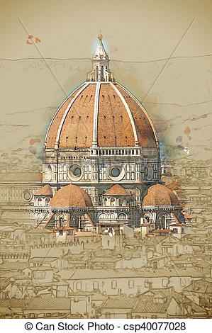 Clip Art of Cathedral of Santa Maria del Fiore in Florence, Italy.