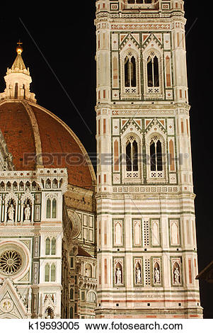 Stock Image of The Cathedral of Santa Maria del Fiore in the night.
