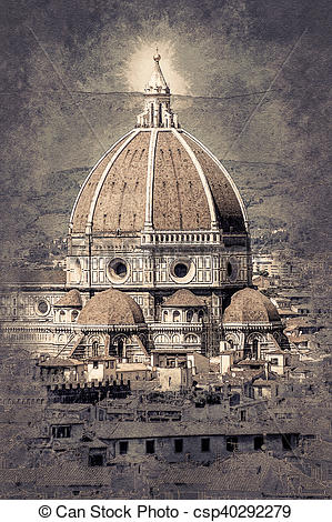Stock Illustrations of Cathedral of Santa Maria del Fiore in.