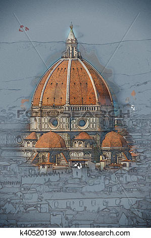 Stock Illustration of Cathedral of Santa Maria del Fiore in.