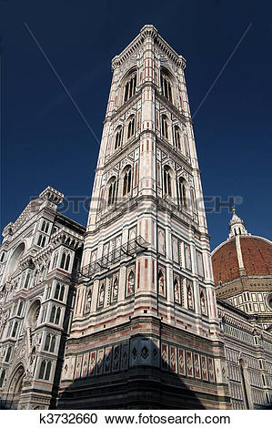 Stock Photography of Campanile of the Cathedral of Santa Maria del.