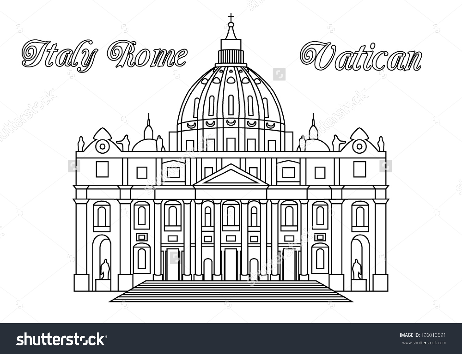 St Peters Basilica Vatican Rome Italy Stock Vector 196013591.