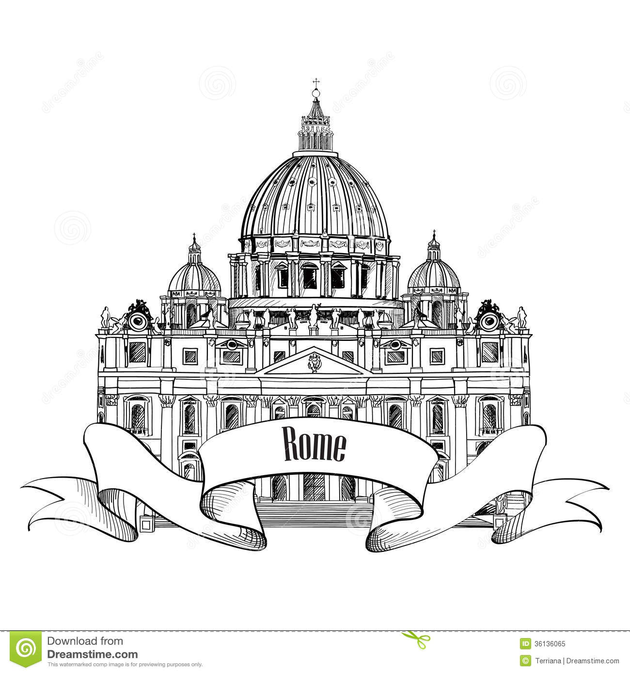St. Peter's Cathedral, Rome, Italy. Famous Landmark. Travel Label.