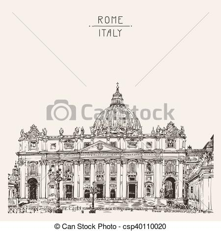 Vector Illustration of St. Peter's Cathedral, Rome, Vatican, Italy.