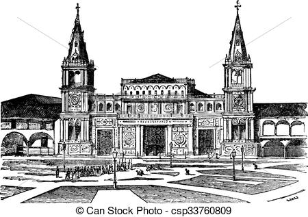 Vector Clipart of Cathedral of Guayaquil or Cathedral of Saint.