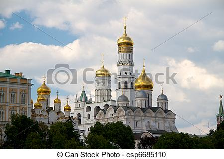 Stock Photography of Moscow Kremlin. View on a group of Ortodox.