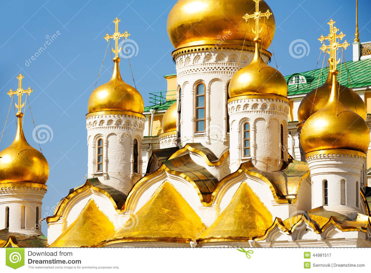 Golden Domes Of Annunciation Cathedral, Moscow Stock Photo.