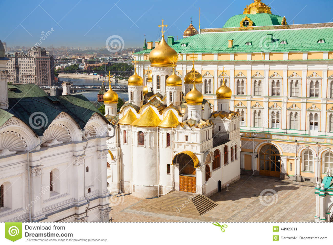 The Top View Of Annunciation Cathedral In Kremlin Stock Photo.