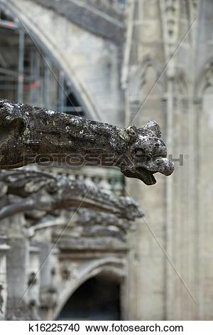 Stock Photography of Gargoyle on Gothic cathedral of Saint Gatien.