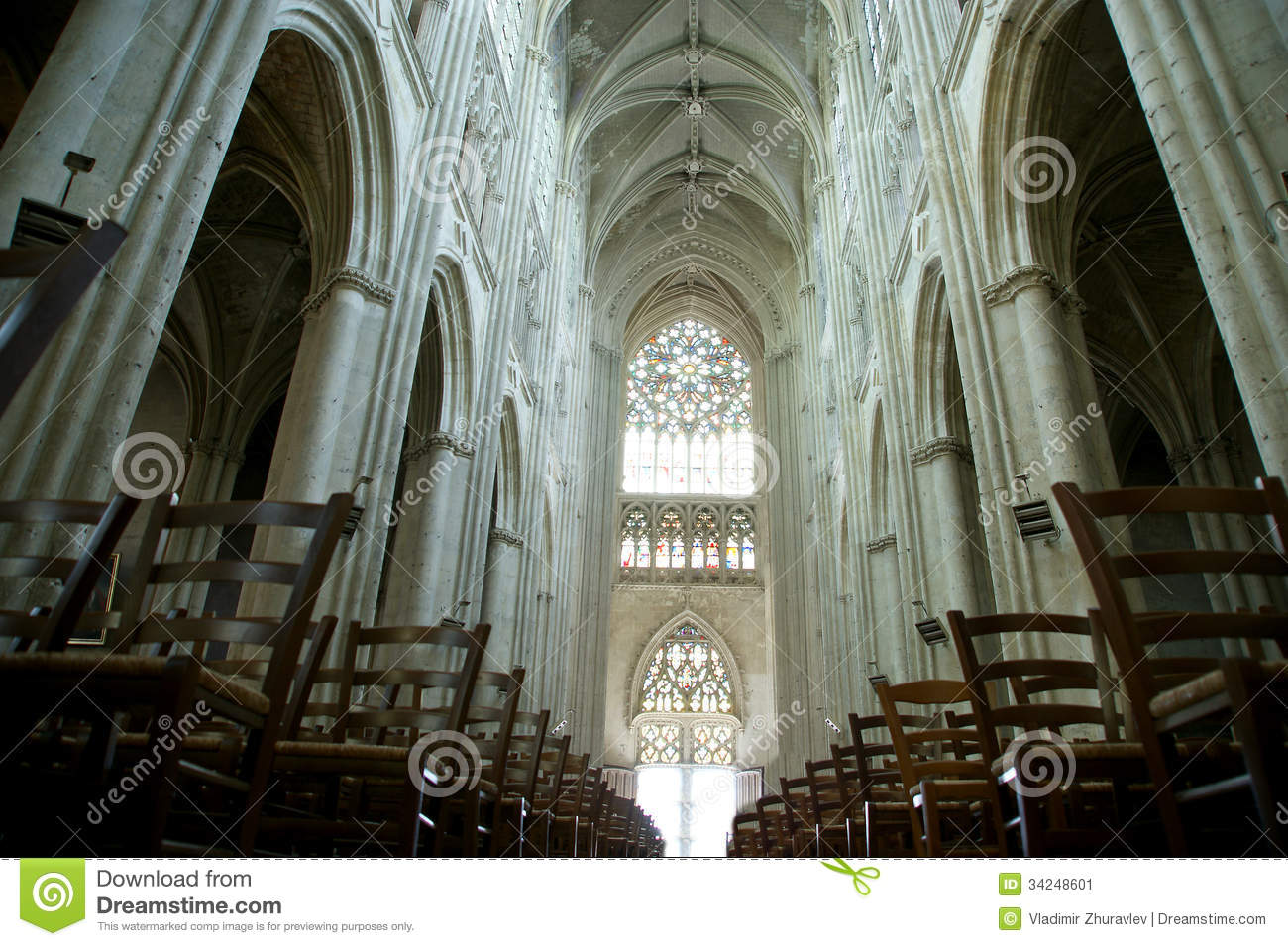 Interior Of A Gothic Cathedral Of Saint Gatien, Tours, France.