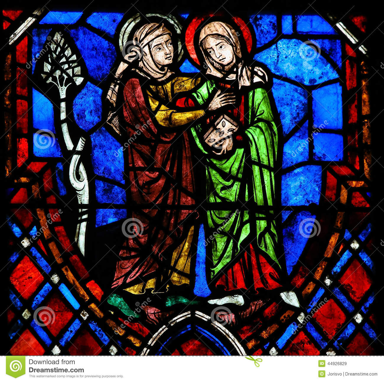 The Visitation Stained Glass In Cathedral Of Tours, France Stock.