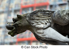 Stock Photo of Gargoyle on Gothic cathedral of Saint Gatien in.