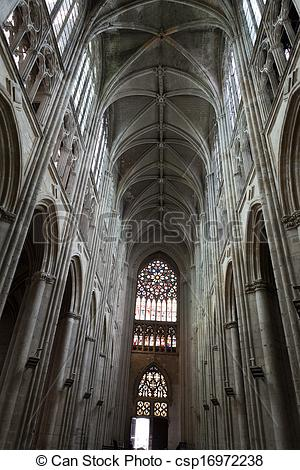 Stock Photos of Gothic cathedral of Saint Gatien in Tours; Loire.