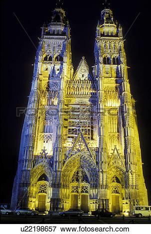 Picture of cathedral, Loire Valley, Loire Castle Region, Tours.