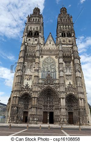 Stock Images of Gothic cathedral of Saint Gatien in Tours, Loire.