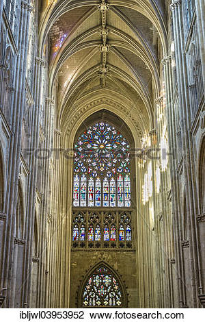 """Stock Photo of """"Interior nave of Cathedrale Saint."""